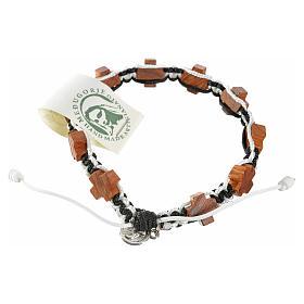 Bracelets, dizainiers: Bracelet Medjugorje corde noir et blanc croix en olivier