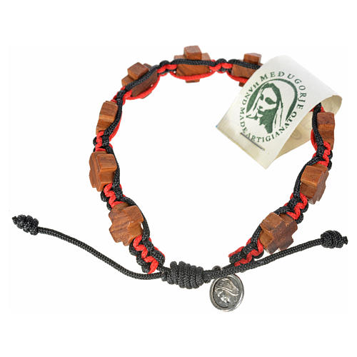 Medjugorje bracelet black red cord, crosses olive wood 1