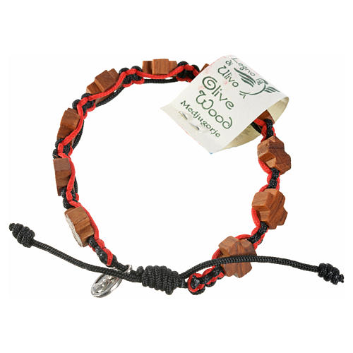 Medjugorje bracelet black red cord, crosses olive wood 2