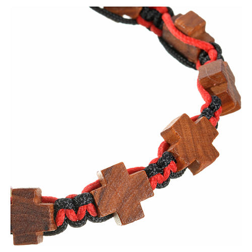 Medjugorje bracelet black red cord, crosses olive wood 3