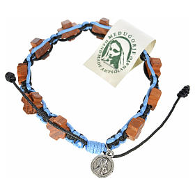 Bracelets, dizainiers: Bracelet Medjugorje corde noir et bleu croix en olivier