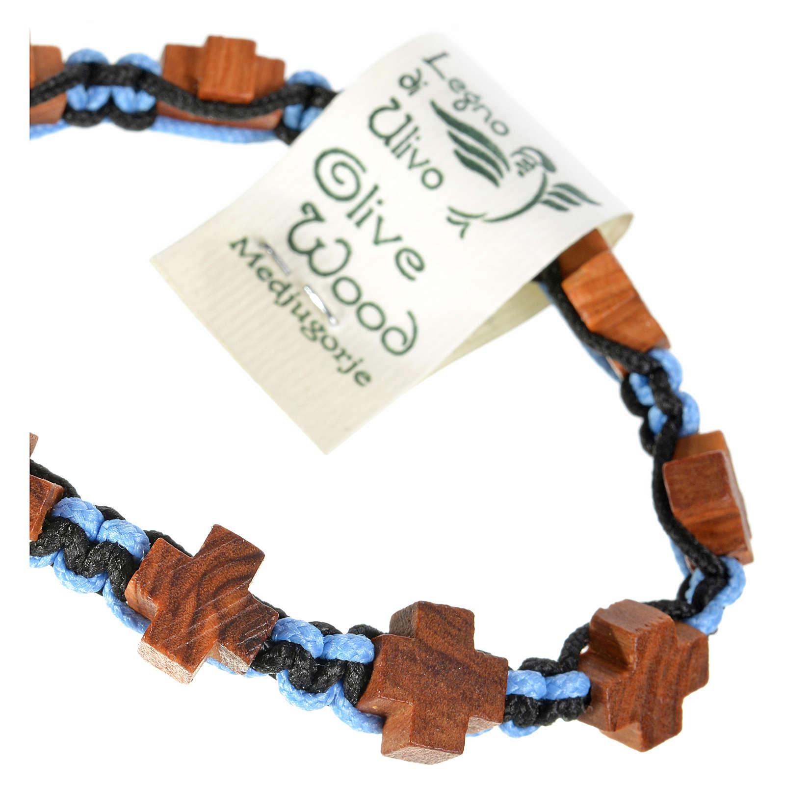 Bracciale Medjugorje corda nero azzurro croci olivo 4