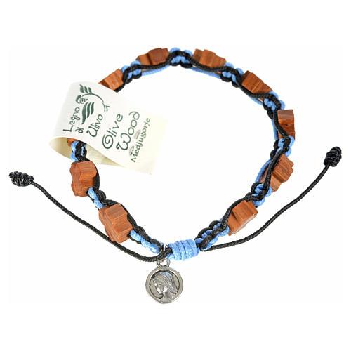 Bracciale Medjugorje corda nero azzurro croci olivo 2