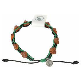 Bracelets, dizainiers: Bracelet Medjugorje corde noir et vert croix en olivier