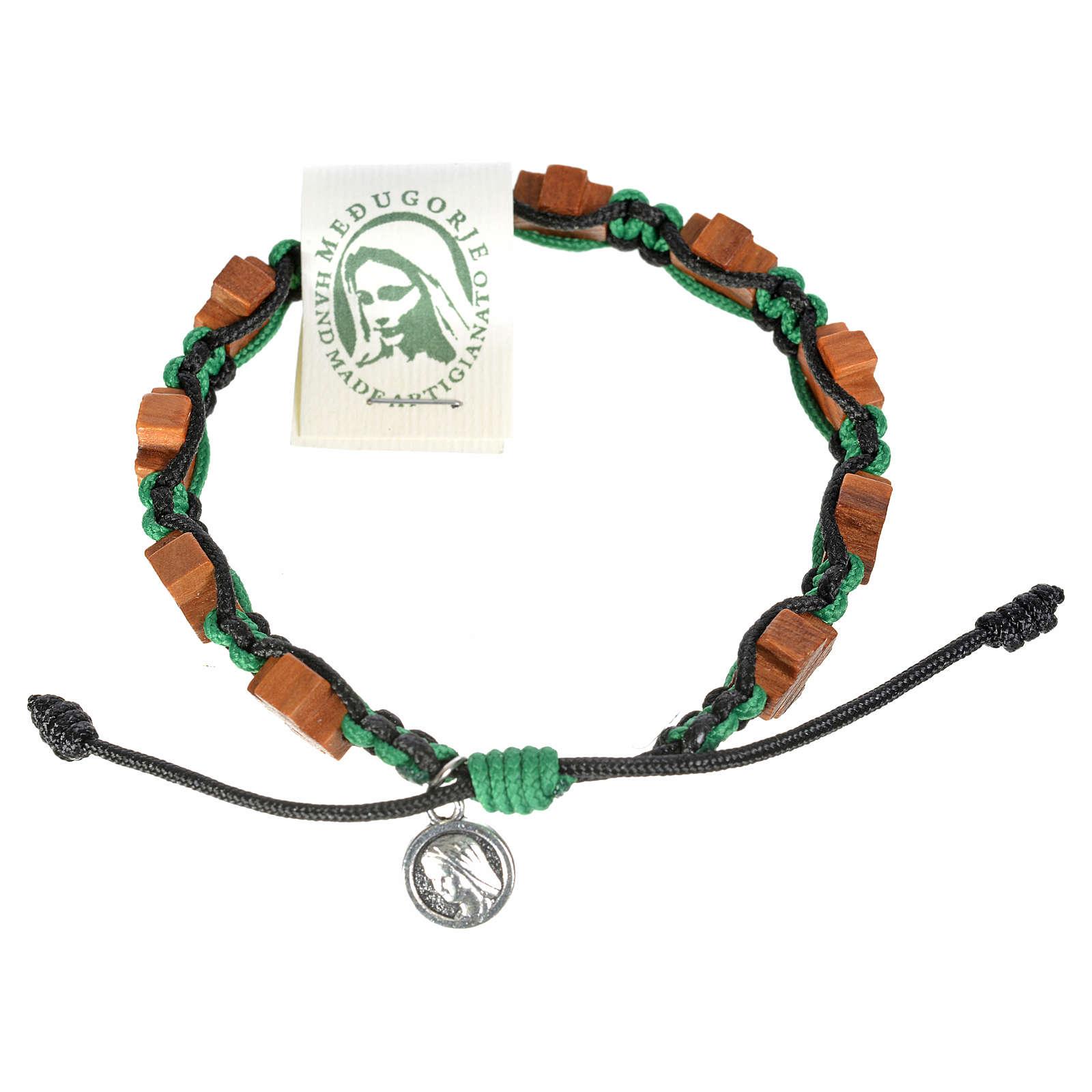 Bracciale Medjugorje corda nero verde croci olivo 4