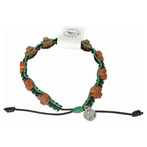 Bracciale Medjugorje corda nero verde croci olivo 1