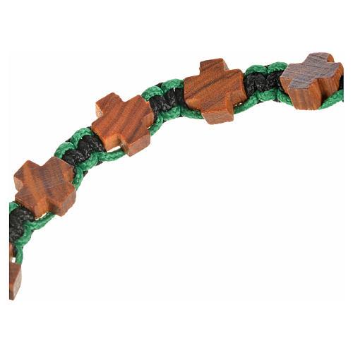 Bracciale Medjugorje corda nero verde croci olivo 3