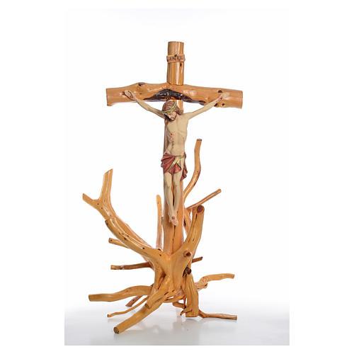 Crucifijo Medjugorie en madera de abeto en Raíz h tot 133 cm 9