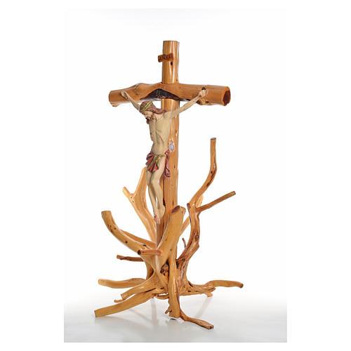 Crucifijo Medjugorie en madera de abeto en Raíz h tot 133 cm 10