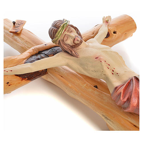 Crucifijo Medjugorie en madera de abeto en Raíz h tot 133 cm 8