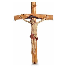Crocifisso Medjugorje in legno d'abete su radice h tot 133 cm s15