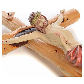 Crocifisso Medjugorje in legno d'abete su radice h tot 133 cm s16