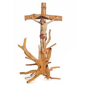 Crocifisso Medjugorje in legno d'abete su radice h tot 133 cm s1