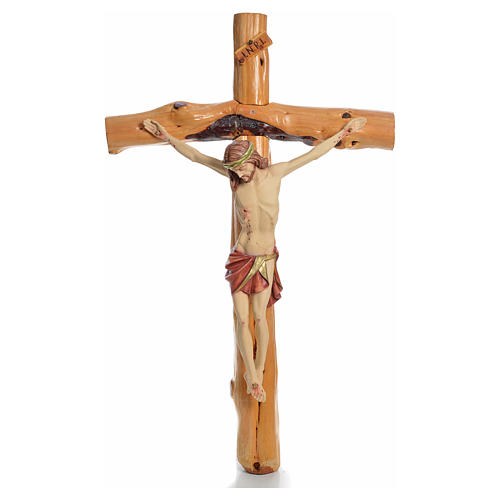 Crocifisso Medjugorje in legno d'abete su radice h tot 133 cm 15