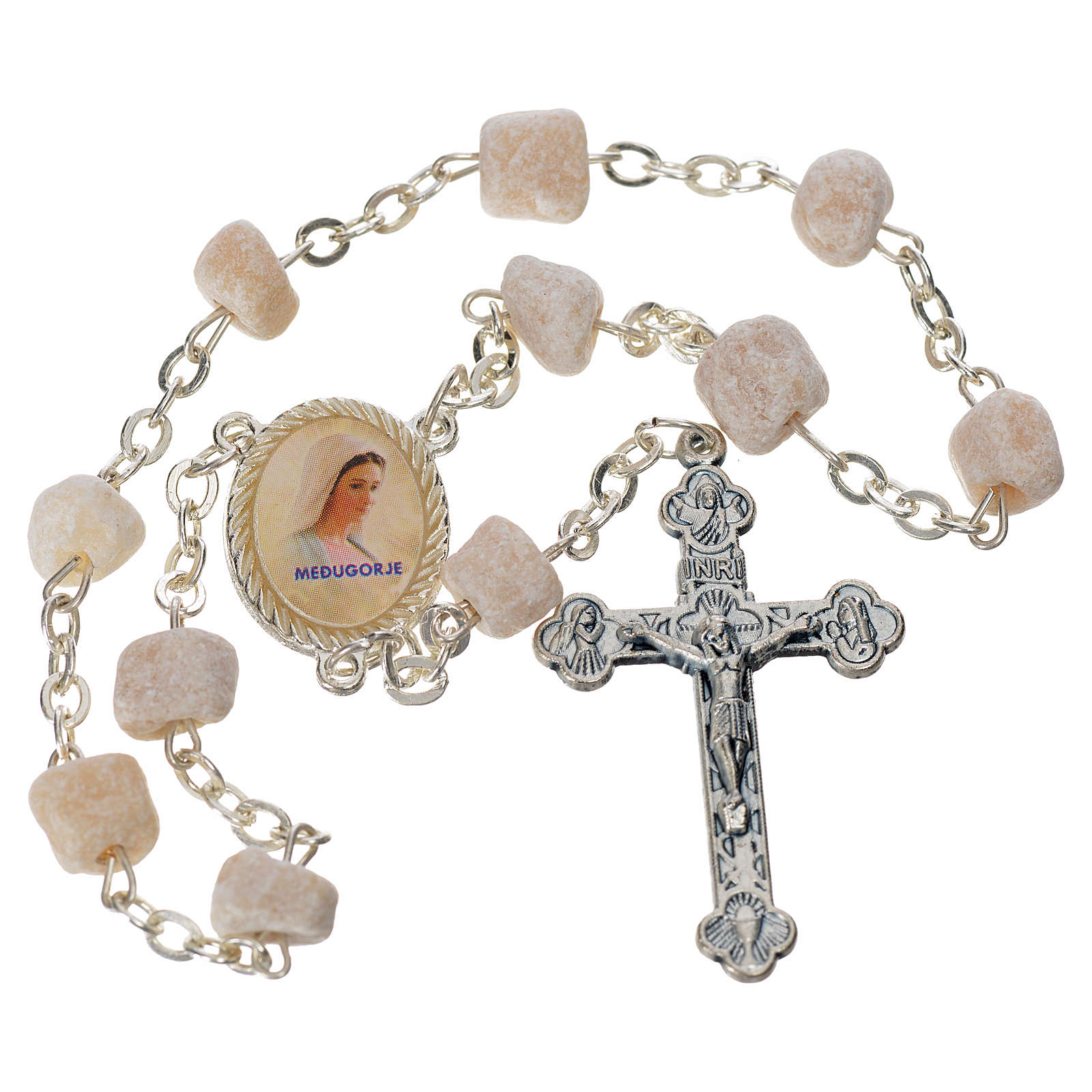 Single-decade Medjugorje rosary white stone, rounded medal 4