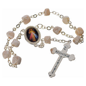 Single-decade Medjugorje rosary white stone, rounded medal s2