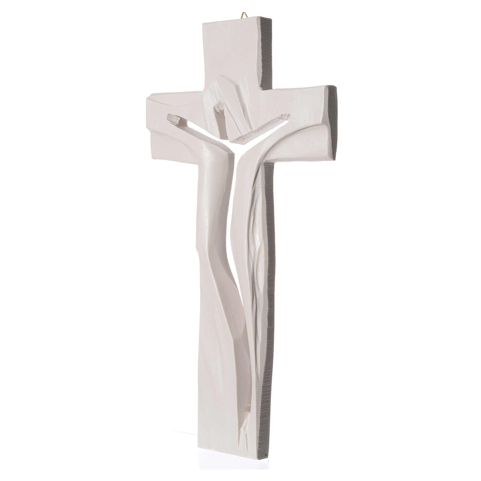 Crucifix Medjugorje résine blanche Christ Ressuscité 34x19cm 4