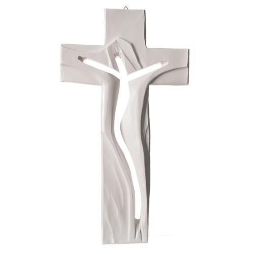 Crucifix Medjugorje résine blanche Christ Ressuscité 34x19cm 1