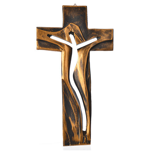 Crucifijo Medjugorje CRISTO Resucitado bronceado resina 34x19 cm 1