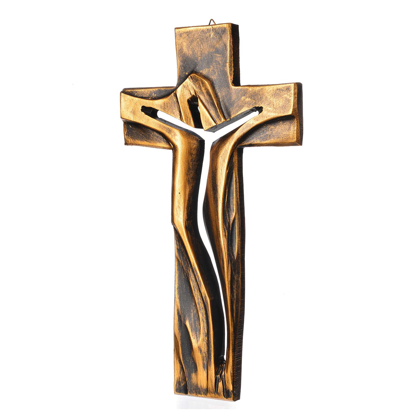 Crucifix Medjugorje résine bronzée Christ Ressuscité 34x19cm 4