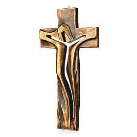 Crucifix Medjugorje résine bronzée Christ Ressuscité 34x19cm s2