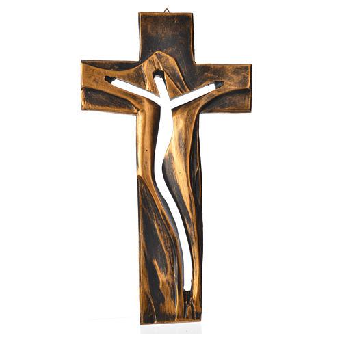 Crucifix Medjugorje résine bronzée Christ Ressuscité 34x19cm 1