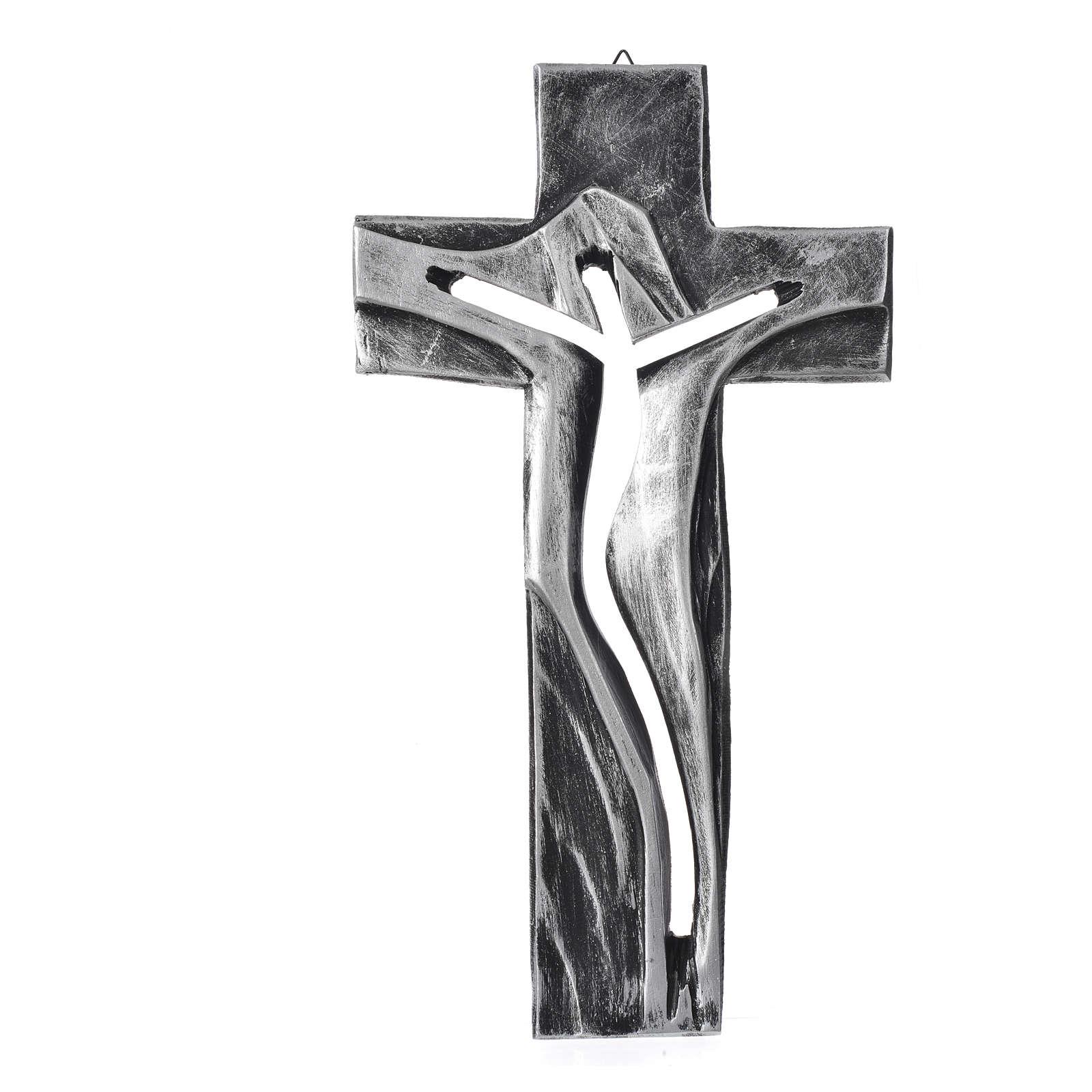 Crucifix Medjugorje résine argentée Christ Ressuscité 34x19cm 4