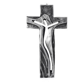 Crucifix Medjugorje résine argentée Christ Ressuscité 34x19cm s1