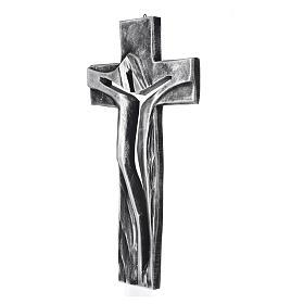 Crucifix Medjugorje résine argentée Christ Ressuscité 34x19cm s2