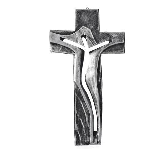 Crucifix Medjugorje résine argentée Christ Ressuscité 34x19cm 1