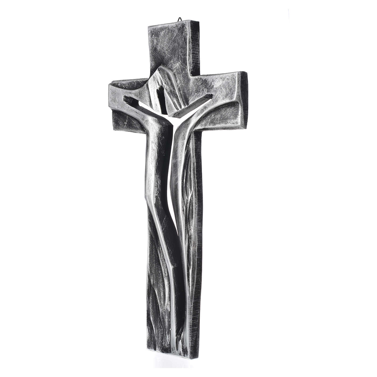 Crocifisso Medjugorje Cristo Risorto argentato resina 34x19 4