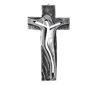 Crocifisso Medjugorje Cristo Risorto argentato resina 34x19 s1