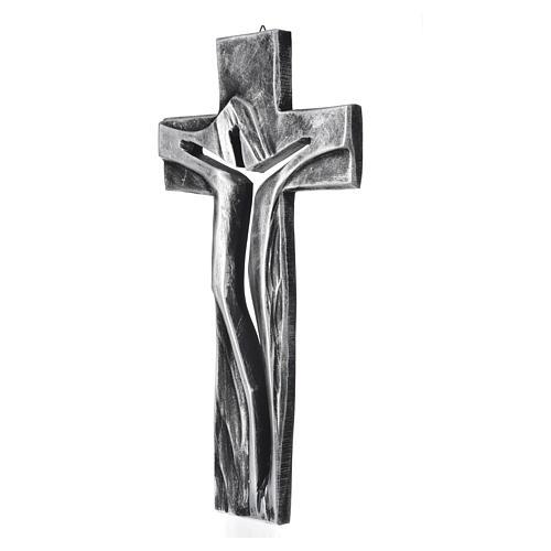 Crocifisso Medjugorje Cristo Risorto argentato resina 34x19 2