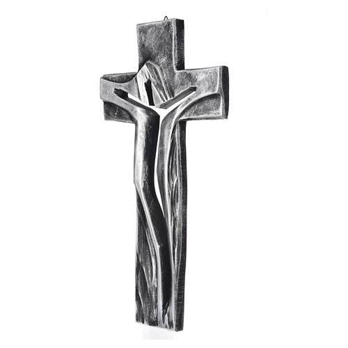 Crucifix, Medjugorje Resurrected Christ in silver resin 34x19cm 2