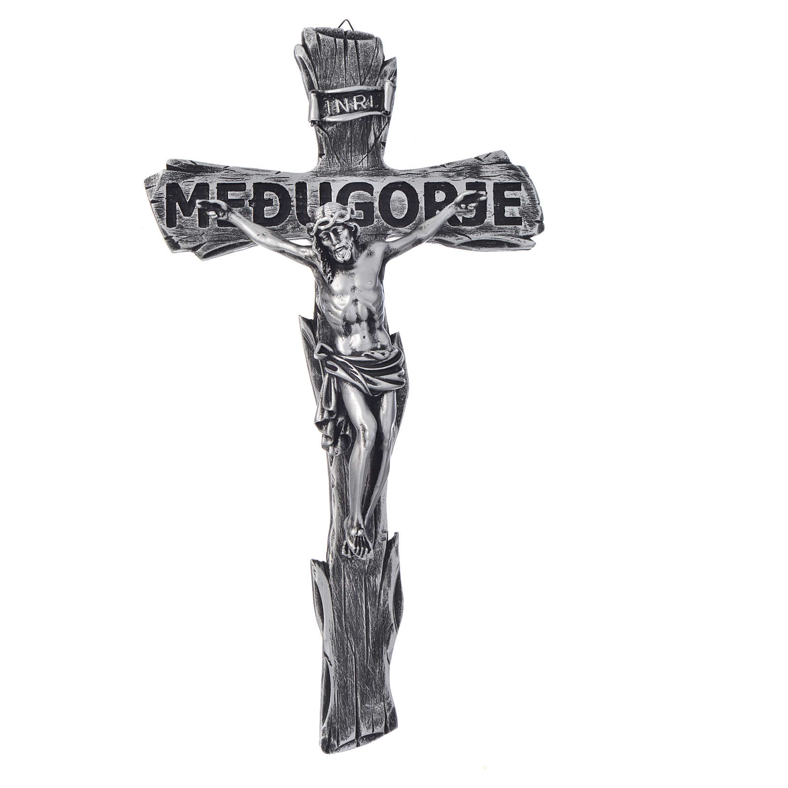 Crucifix, Medjugorje in resin and body in metal 44x24cm 4