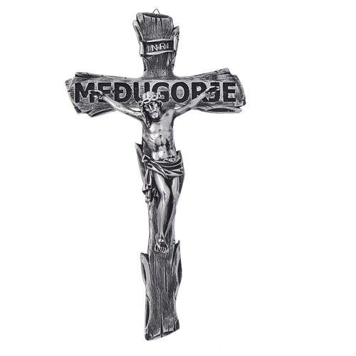 Crucifix, Medjugorje in resin and body in metal 44x24cm 1