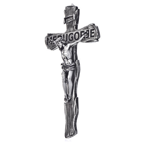 Crucifix, Medjugorje in resin and body in metal 44x24cm 2