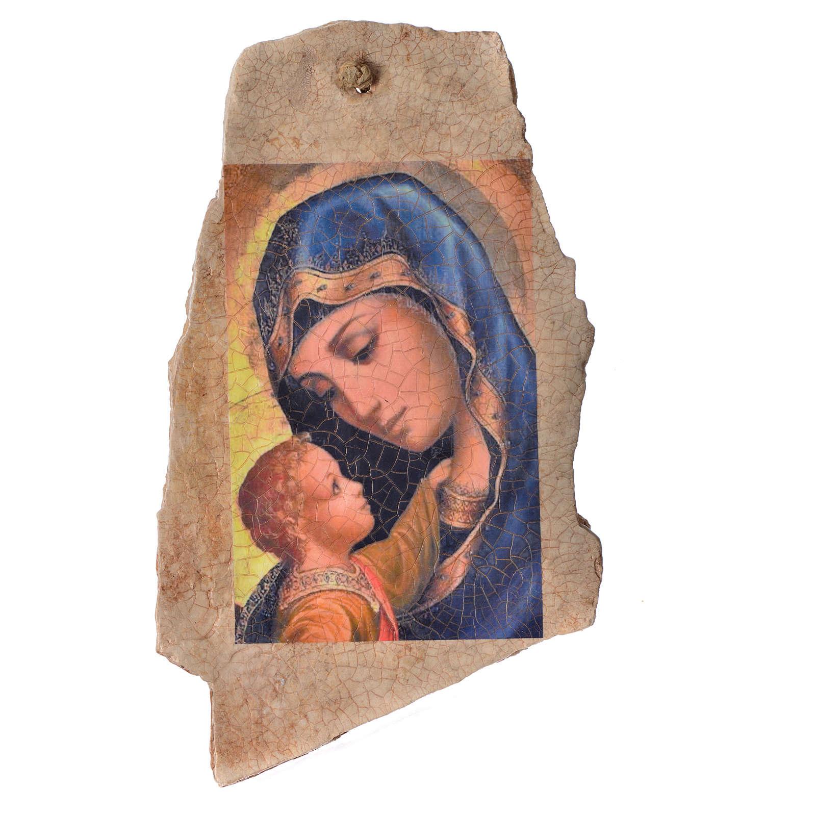 Quadro pietra Medjugorje Madonna Bimbo 33x19 4