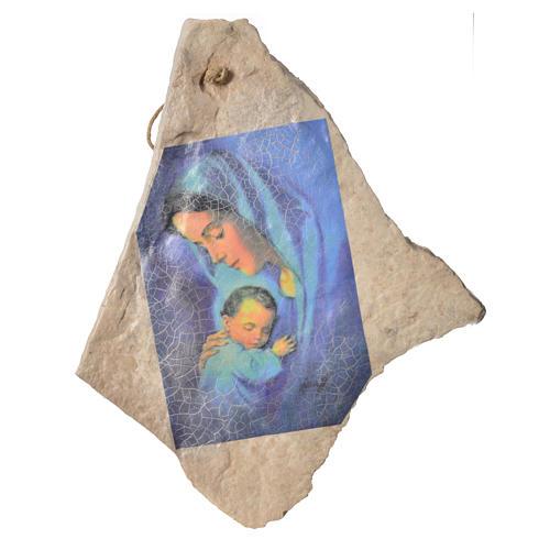 Tableau Vierge à l'enfant sur pierre de Mejugorje 33x19cm 1