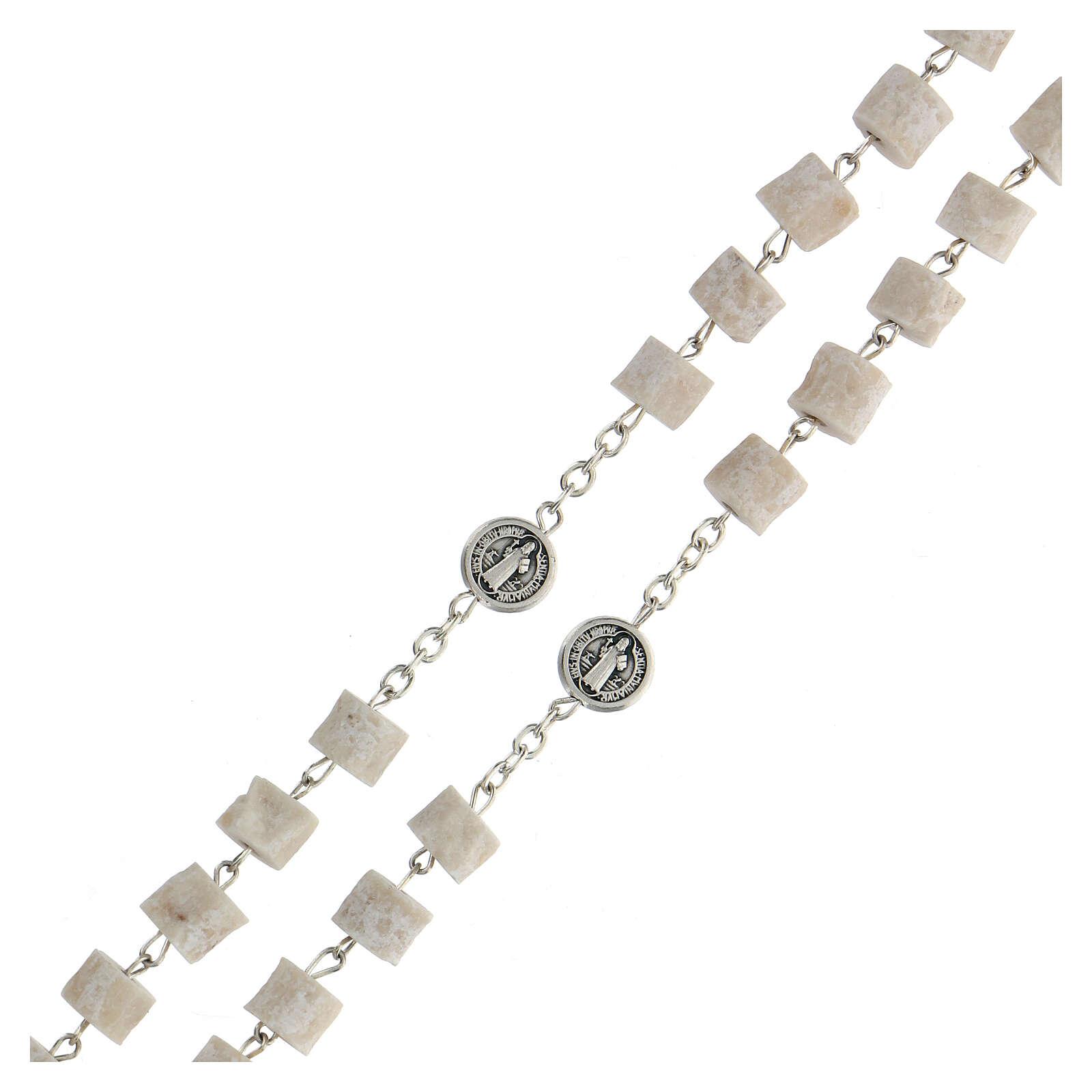 Medjugorje rosary in white stone Divine Mercy of Jesus 4