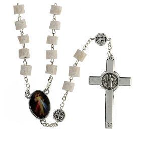 Medjugorje rosary in white stone Divine Mercy of Jesus s2
