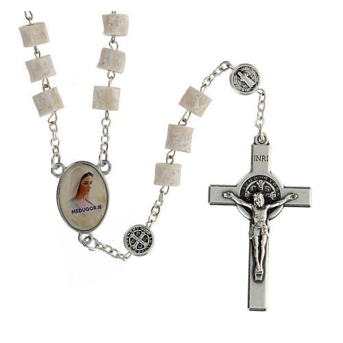 Medjugorje rosary in white stone Divine Mercy of Jesus 1