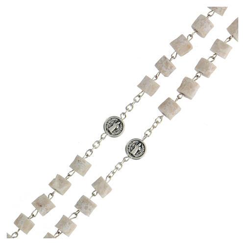 Medjugorje rosary in white stone Divine Mercy of Jesus 3