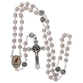 Chapelet Medjugorje Christ Miséricordieux pierre blanche s4