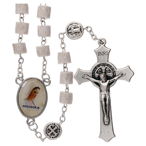 Chapelet Medjugorje Christ Miséricordieux pierre blanche 1