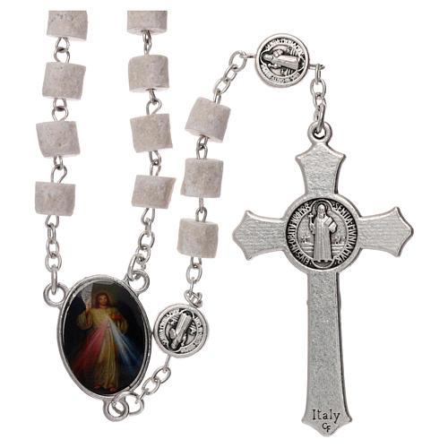 Chapelet Medjugorje Christ Miséricordieux pierre blanche 2