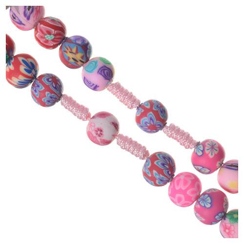 Rosario Medjugorje fimo fiori rosa corda rosa terra 3