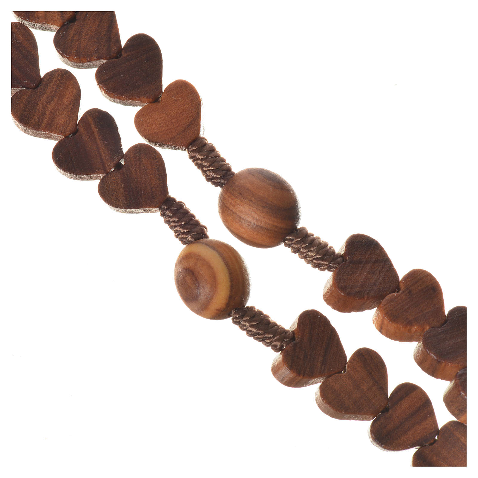 Medjugorje rosary, olive wood, heart grains 4