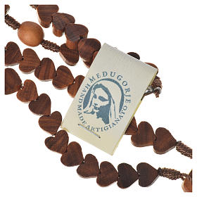 Medjugorje rosary, olive wood, heart grains s4