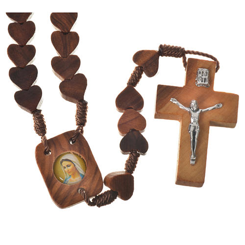 Medjugorje rosary, olive wood, heart grains 1